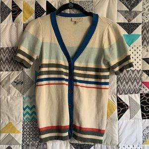 Striped short sleeve cardigan